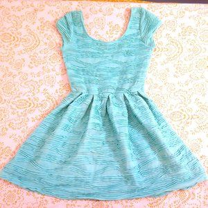 Mendocino Green Blue Babydoll Dress Ribbed